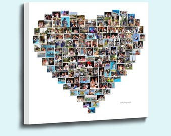 Love Heart Shaped Photo Collage on Canvas Framed and ready to Hang Fantastic Gift for any Occasion