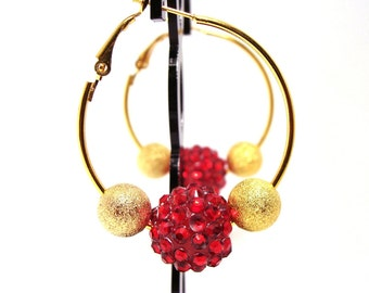 Crimson Red Gold Hoop Earrings