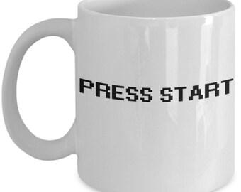Press Start Coffee Mug - Gaming Video Game Gift - Friend Coworker - Retro Videogame Tea Cup