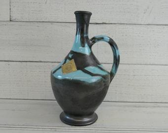 Mid Century Vintage French pottery, wine/water/liquor carafe,  50s ceramics