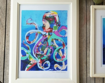 Octopus Art Print, Wall Decor, Kids Art, Nursery Decor, Wall Art, Sea Art, Marine Theme, Colorful Art, Art Gift, Sea Life, 3 sizes