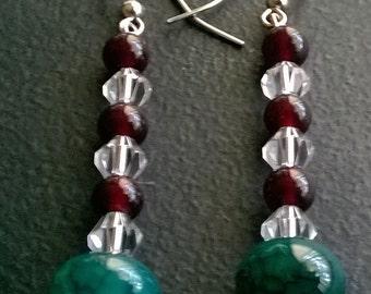 Agate Earrings, Garnet Earrings, Dangle Earrings, Boho Earrings, Gemstone Earrings, Geaded Earrings, Statement Earrings, Drop Earrings