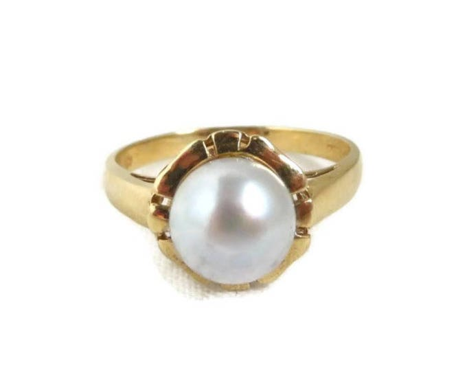 Pearl Ring, Solitaire Pearl Ring, Pearl Ring Gold, Antique Ring, Statement Ring, Vintage Ring, Solid Gold Ring, Saltwater Pearl Ring