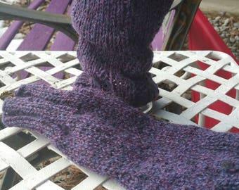 Handwarmers in Rich Purple Wool