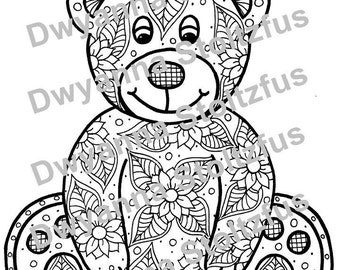 Teddy Bear Coloring Page JPG