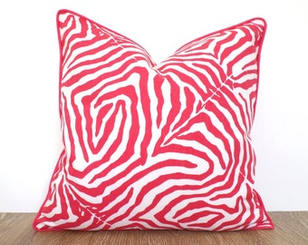 Pink zebra print pillow cover 18x18 for nursery decor, animal print pillow with piping pink Christmas decor, pink sofa cushion