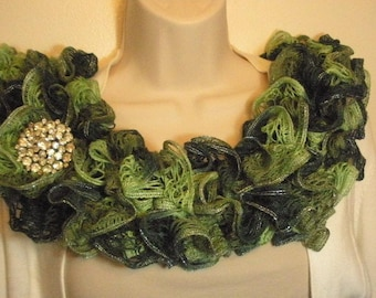 Ruffled Lacy Scarf Knit Light Green Dark Green Silver Edges