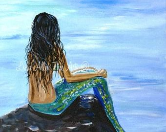 "Mermaid Mermaids Woman ART PRINT GICLEE Ocean Fantasy Sea Magical Art Decor Sea Mythical  ""Bright Mermaid Magic""  Leslie Allen Fine Art"