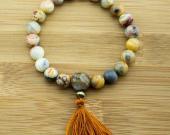 Crazy Lace Agate Mala Bracelet with Antique Glass | 8mm | Yoga Jewelry | Meditation Bracelet | Wrist Mala | Free Shipping