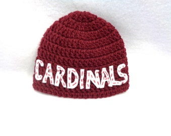 Maroon Cardinals Hat by Charlene, Photo Prop, Size 0 to 3 Months, Arizona Cardinals Inspired, St. Louis Baseball Inspired