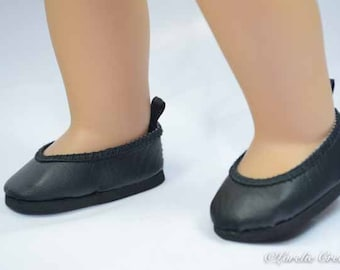 American Girl SHOES Fifties Black Smooth Faux Leather Ballerina Communion Wedding Flats for American Girl or 18 inch doll