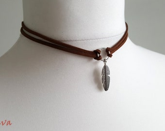 Choker necklace vintage Brown / silver