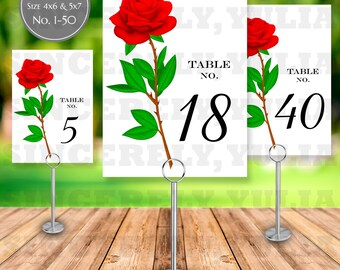 Pretty Red Rose Flower Table Number Printable || Elegant Pretty Wedding || Number 1-50 || Size 4x6 and 5x7 || Digital Files || PDF || SY047