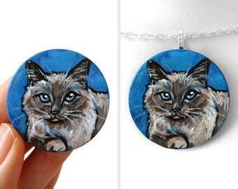 Birman Cat Wood Necklace, Pet Portrait, Animal Art, Hand Painted, Circle Pendant, Cat Owner, Unique Gift, Cat Memorial, Pet Loss