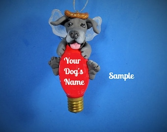 Blue Grey Great Dane natural ears Angel Dog Christmas Holidays Light Bulb Ornament Sally's Bits of Clay PERSONALIZED FREE with dog's name