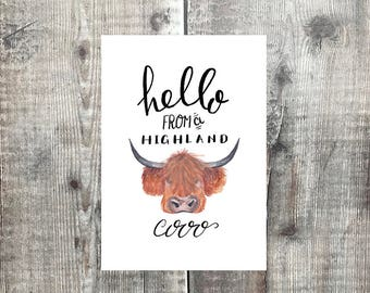Hello from a Highland Cow card - scottish cards - highland cow card - scotland - cows