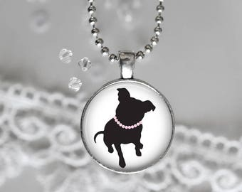 Pit Bull Necklace/Pit Bull Pendant/Pearl Pit/Dog Lover Necklace/Pit Bull Lover/Pit Bull Gifts/Pit Bull Jewelry/Pit Bull Rescue