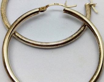 Vintage Sterling Silver Hoop Earrings 1 3/4 inch, Hot! Hot! Hot! Perfect for Spring and Summer
