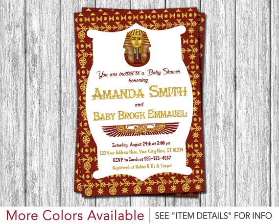 Egyptian Baby Shower Invitation Egyptian Theme Invitation