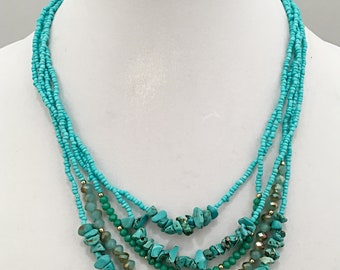Turquoise Multi Strand Beaded Necklace / Turquoise Beaded Crystal Multi Strand Necklace.