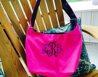 Monogrammed Personalized Canvas Sling bag great for Bridesmaids gifts or Campus Tote or Market Tote