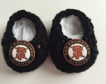 San Francisco Giants baby booties, San Francisco baby shower gift, infant shoes, crochet baby booties, booties for baby, crochet baby shoes