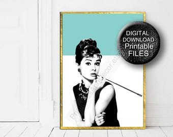 Printable Audrey Hepburn Fashion Wall Art Poster Breakfast at Tiffany's 30x40 24x36 A0