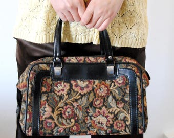 Vintage floral woven fabric fall bag
