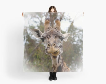 Muted Earth Tones Scarf ~ Giraffe Scarf ~ Gift for Animal Lover ~ Muted Green Scarf ~ Natural Accessory ~ Funny Animal Scarf ~ Giraffe Photo