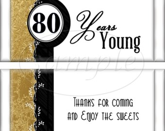 80th Birthday Black and Gold Party Favors Hershey's Candy Bar Wrappers Printable DIY Instant Download