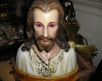 Sale Vintage Divine Bust Jesus Christ w/Risa,Crown,Glass Eyes.European Spanish Religious Church Icon.