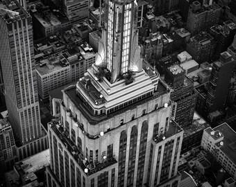 Empire Closeup, Empire State Building, New York City, Aerial View, Midtown, Manhattan, Skyscraper - Travel Photography, Print, Wall Art