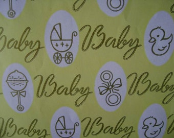 Vintage 1970s Gift Wrap for Baby--1 Sheet Wrapping Paper Baby Theme-Yellow BABY!
