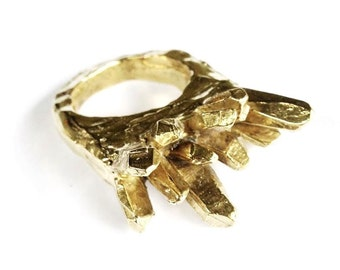 Cast Brass Crystal Cluster Ring