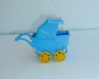 Baby Blue Miniature Stroller Dollhouse Nursery Collectible Baby Carriage by VintageReinvented