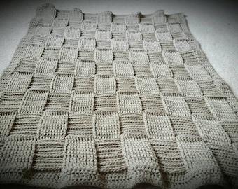 Basket Weave Crochet Baby Blanket in Taupe