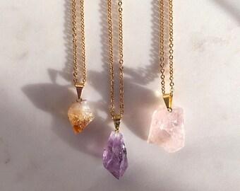 Petite Crystal on Gold Necklace - Rose Quartz Pendant