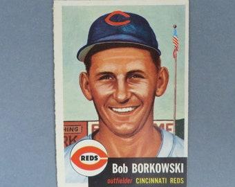 Vintage 1953 Topps #7, Bob Borkowski, Cincinnati Reds Baseball Card, VG+, Gift for Him, Collectible Card