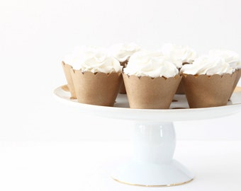 Kraft Paper Cupcake Wrappers Brown Craft Paper Cupcake Liners Kraft Paper Cups Shabby Chic Bridal Shower Rustic Neutral Wedding Cupcakes