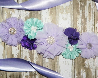 Lavender Mint Wedding Sash, Flower Girl Sash, Purple Lavender Bridesmaid Sash, Flower Belt, Bridal Belt, Junior Bridesmaid Sash, Maternity