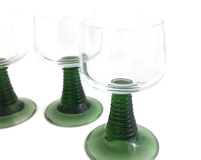 Four Mid Century Rhine Wine Glasses with Green Stem