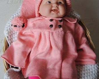 coat and in pink and black 12 months hand knitted baby Pixie bonnet