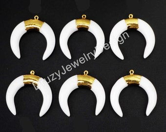 Gold Charm,Tribal Ox Horn Charm,White Charm,Agate Charm,Horn Jewelry,Crescent Charm,JD0716-G
