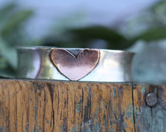 Sterling silver wide extra thick Cuff bracelet with copper Heart personalized bracelet