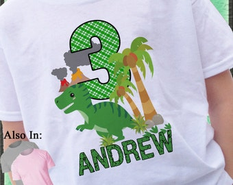 Dinosaur Shirt - Dinosaur Birthday Shirt - Big Number Cute Baby Dino Birthday Shirt  1,2,3,4,5,6,7,8,9 Green Dino Shirt Name and Age