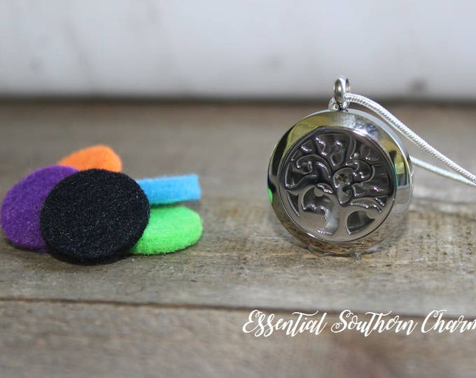 Essential Oil Tree of Life Diffuser Necklace Stainless Steel locket Sterling Silver Chain 25mm