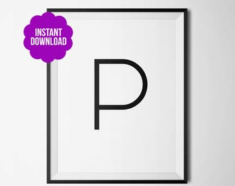 P Letter Printable Wall Decor Black and White Minimalistic Typography
