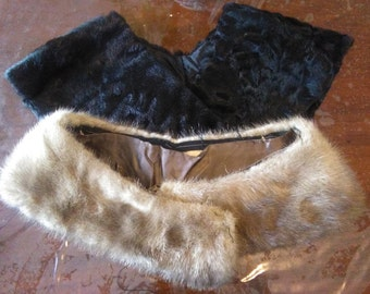 Vintage fur Collars, astracan and mink, vintage necks