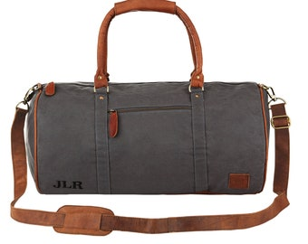 Grey Canvas & Brown Leather Weekend Bag - Duffle Bag - Overnight Bag - Gym Bag *Personalised* by MAHI Leather