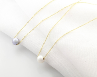 14K Fine Gold Pearl Pendant Necklace, 6.5MM Freshwater Pearl, Silver/White Pearl, June Birthstone, Mother's Day Gift, BrookeMicheleDesigns